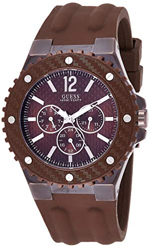 Guess - Reloj analógico de Cuarzo para Hombre con Correa de Silicona, Color marrón