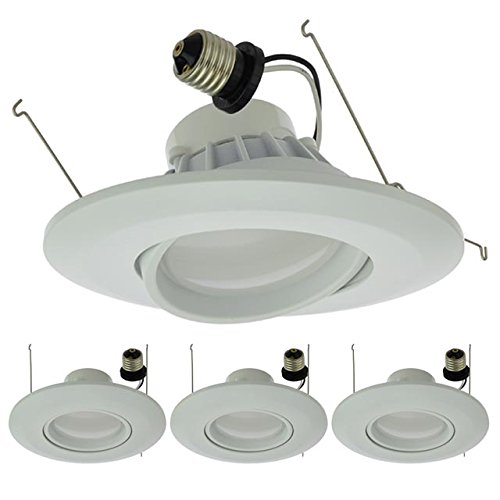 "LEDwholesalers 6"" (5""-Compatible) Recessed Dimmable 15W LED Adjustable Head Downlight with White Trim, ETL & Energy Star (4-Pack), Warm White 3000K, 2216WW-30Kx4"