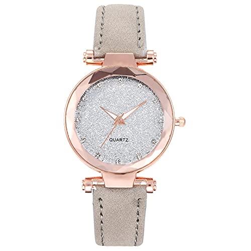 Relojes para Mujer Star Sky Exquisito Diamante Retro Correa De Cuero Cuarzo Relojes para Mujer Reloj para Niñas Regalo Gy