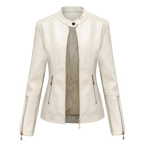 MISSMAOM Synthetic Leather Jacket Womens Slim Fit Bomber Jacket PU Leather Jacket, Biker Jacket with Zipped Pockets,Beige,S