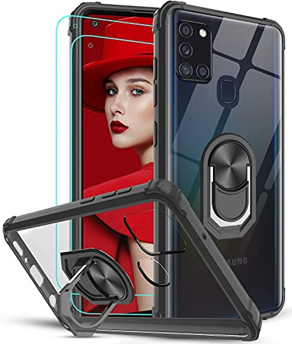 LeYi Funda Samsung Galaxy A21s con [2-Unidades] Cristal Vidrio Templado,Transparente Carcasa con 360 Grados iman Soporte Silicona Bumper Antigolpes Armor Case para Movil A21s,Clear Negro