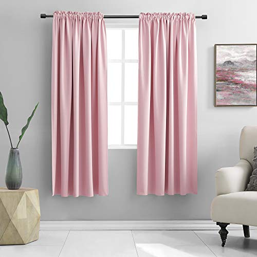 DONREN Pink Blackout Curtains for Girls Room - Room Home Decoration Privacy Protection Thermal Insulated Blackout Window Drapes with Rod Pocket (Set of 2 Panels,42 x 63 Inch Length)