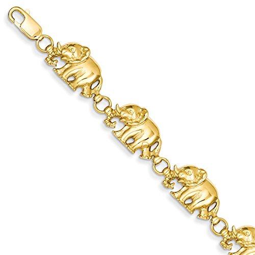 14 Karat Gelbgold Diamantenschliff große marschierende Elefanten Armband für Frauen