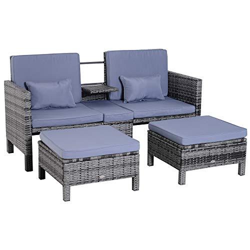 Outsunny 3-TLG. Gartensofa Gartenmöbel Lounge Gartenset Sitzgruppe Rattenmöbel Grau Polyrattan + Metall 2er-Sofa 2 x Hocker Kissen
