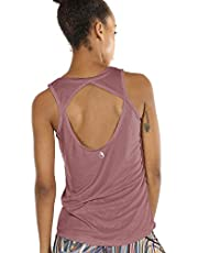 icyzone Dames Yoga Sport Tank Top - Rugvrij Fitness Shirt Top Mouwloos Training Tops