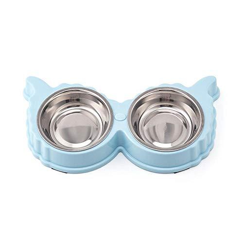 Hundenapf Praktische Hundenapf Edelstahl Haustier Wasserfutterautomat Welpenfütterungsgeschirr Katze Doppelschalen rutschfeste Haustierfutterbehälter Aspictureshow Blau
