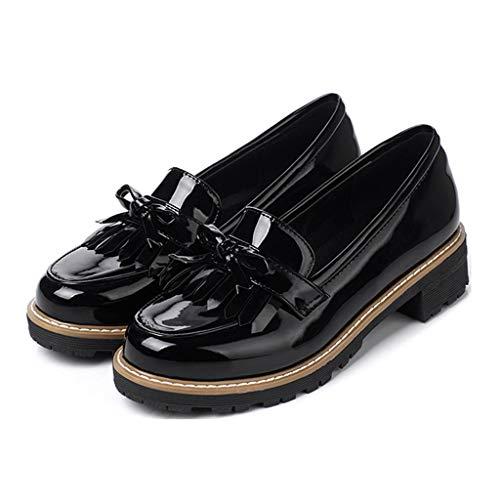 MIOKE Women's Classic Tassel Flat Oxford Shoes Patent Leather Slip On Low Heel Bow Tie School Penny Loafers Black