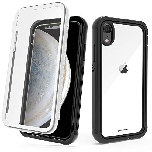 CellEver Compatible with iPhone XR Case, Clear Full Body Military Grade Heavy Duty Protection with Built-in Clear Screen Protector Shockproof Rugged Transparent Cover - White