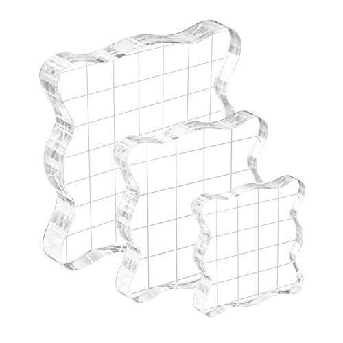 Bloques de Estampación de Acrílico,Transparente Sello de Silicona,Estampación de bloques de acrílico,Bloques Acrílico Herramientas (3PCS)