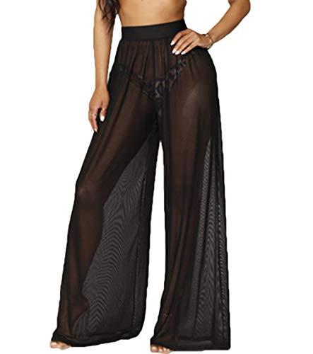 RUEWEY Women See Throug Mesh Flare Cover up Pants Swimsuit Bikini Bottom Cover up Elastic Waist Loose Wide Leg Long Palazzo Pants Trousers (2XL, Black)