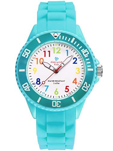 Alienwork Kids Reloj de Aprendizaje Infantil Niña Turquesa Pulsera de Silicona Abigarrado niños Impermeable 5 ATM