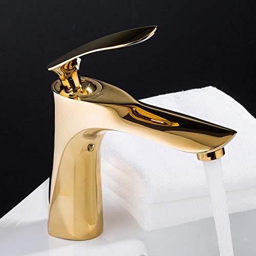Grifo monomando de lavabo grifo de cascada grifo de lavabo de oro de lujo grifo de fregadero de agua fría y caliente