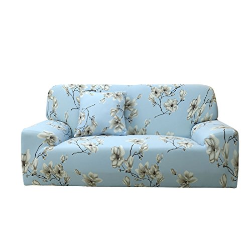 uxcell Printed Sofa Cover Stretch Couch Covers Slipcovers Universal Furniture Protector for 3 Cushion Couch with One Pillow Case (Blooming Flower, Large)