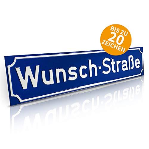 Betriebsausstattung24® Straßenschild Straßen- & Wegschilder | Mit Wunschtext Prägung | Aluminiumschild mit Antiqua-Rand | Größe: 60,0 x 13,0 cm, Blau mit weißer Schrift