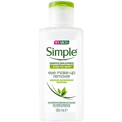 Simple zacht voor de huid oogmake-up remover voor gevoelige huid verwijdert waterdichte mascara 125 ml 1 stuk