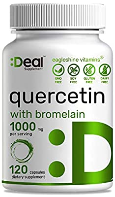 Deal Supplement Quercetin with Bromelain, 1000mg, 120 Capsules, Quercetin Vitamins for Immune System Booster, Promotes Immune Functions and Cardiovascular Health- Bioflavonoids, Antioxidant