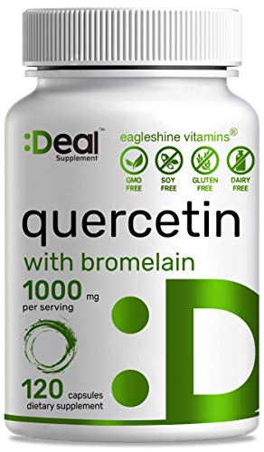 Quercetin Supplements - Quercetin with Bromelain 1000mg Per Serving, 120 Capsules, Quercetin 500mg Per Capsule, Support Healthy Immune Response & Cardiovascular Health
