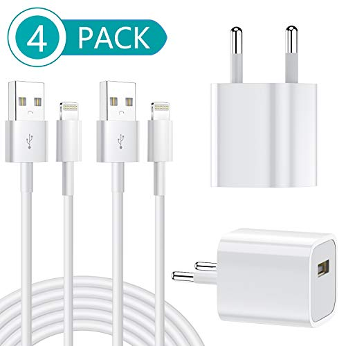 Phone Ladekabel MFi Zertifiziert 2Pack 1M Lightning Ladekabel mit 2Pack Ladegerät Stecker Netzteils für iPhone11/11 Pro XS/Max/XR/X/8/8 Plus/7/7 Plus/6/6S/6 Plus/5S/SE/iPad Mini/Air/iPro