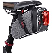 Saddle Bag for Bicycle, TecTri Strap-On Bike Seat Pack Bag Waterproof Zipper Wedge Pack for Cycling with LED Taillight Mesh Pocket Inside