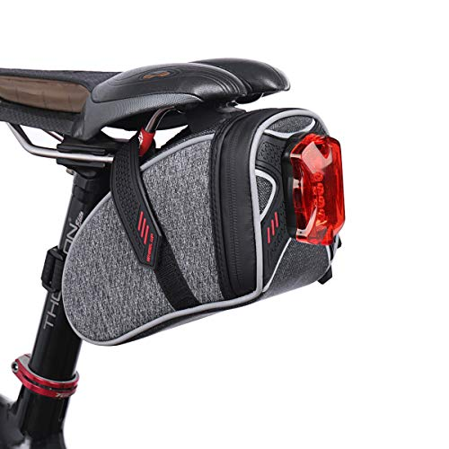 TecTri Strap-On Bike Seat Pack Bag Waterproof Zipper Wedge Pack for Cycling with LED Taillight Mesh Pocket Inside