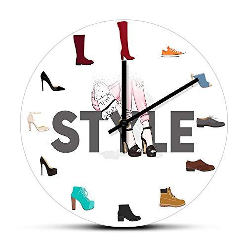 Varios Zapatos Imprimir Reloj de Pared Redondopara Dormitorio Femenino Zapatería Calzado Moda Decoración de Arte de Pared Zapatero Signo de Negocios Reloj de Pared-No_Frame