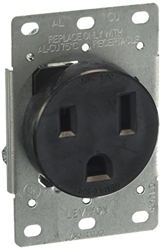 Leviton 5374-S00 50 Amp, 250 Volt, Flush Mounting Receptacle, Straight Blade, Industrial Grade, Grounding, Black, 1-Pack