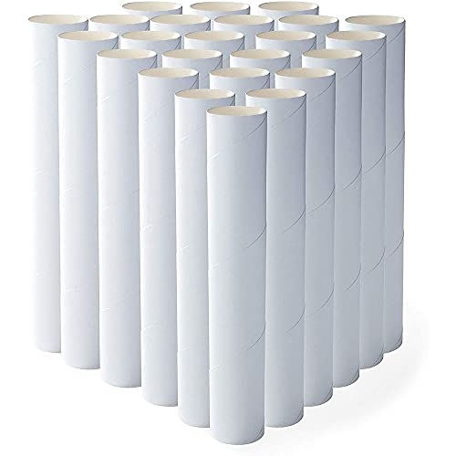 White Cardboard Tubes for Crafts (1.75 x 10 In, 24 Pack)