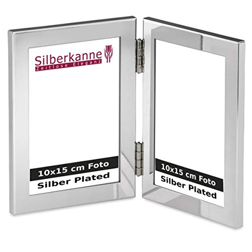 Silberkanne - Cornice portafoto doppia, 2 x 10 x 15 cm, con foto argentata, lavorazione premium