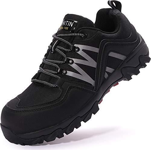 WHITIN Zapatos de Seguridad Hombres Zapatillas de Trabajo con Punta de Acero Ultra Liviano Reflectivo Anti-Deslizante Transpirable Zapatos de Industriay Construcción Negro 45 EU