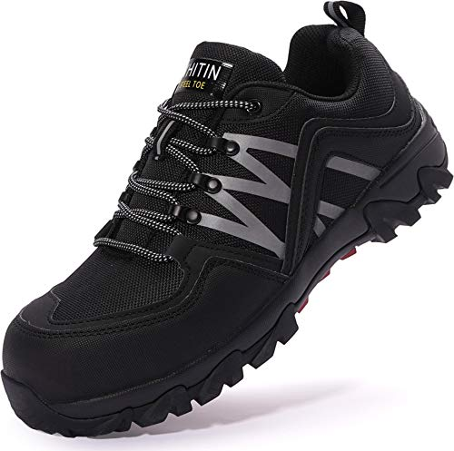 WHITIN Sicherheitsschuhe mit Stahlkappe Arbeits Schuhe Leicht Schutzschuhe rutschfeste Arbeitsschuhe männer Sicherheits Schuhe sportlich Herren Schwarze Größe 44 EU