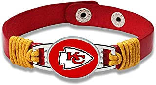 Kansas City Chiefs Leather Bracelet with Snap Closure 7