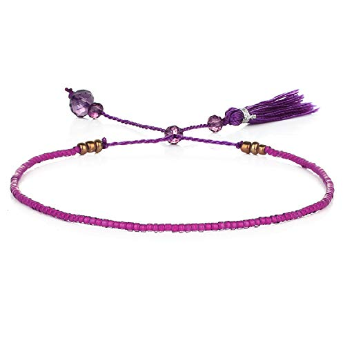 KELITCH New 2021 Friendship Bracelets Gewebter Strang Miyuki Perlen Armbänder Für Frauen Armbänder Armreifen (Lila)