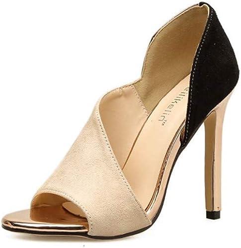 Zapatos De Tacón Microfibra para mujer Europea Y Americana 11.5 Cm Moda Sexy Club Nocturno Salvaje Sandalias De Tacón Alto