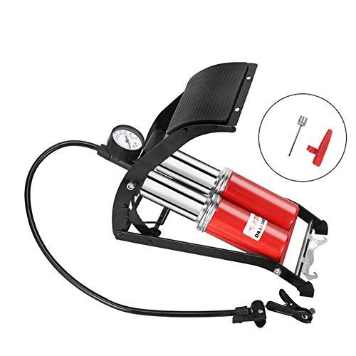 Pedal de Alta presión Bomba de Aire Inflador de Doble Cilindro MTB Ciclismo de Carretera Bicicleta Coche Inflable para Scooter con barómetro Se Adapta a la válvula Presta/Schrader/Woods
