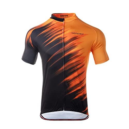 Tofern Magliette da Ciclismo per Uomo Maglia da Bici Traspirante ad Asciugatura Rapida a Manica Corta con Tasche Abbigliamento da Bicicletta per Bici da Strada MTB