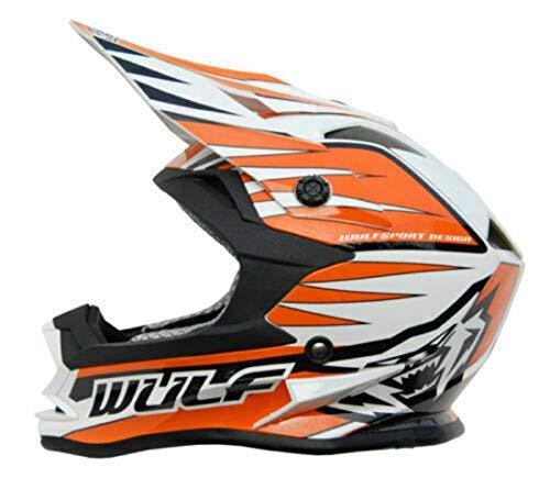 Wulfsport Advance Casco de motocross para niños Cub Junior Deportes Quad Pit Bike ATV BMX Infantil Motocicleta Racing Mx Casco Naranja (XL)