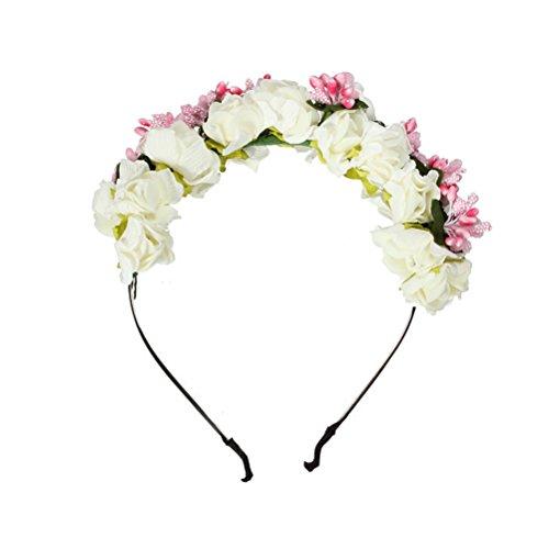 Corona di rose fai da te Fascia larga ghirlanda floreale Fascia per capelli Copricapo per capelli (Petalo bianco e nucleo rosa)