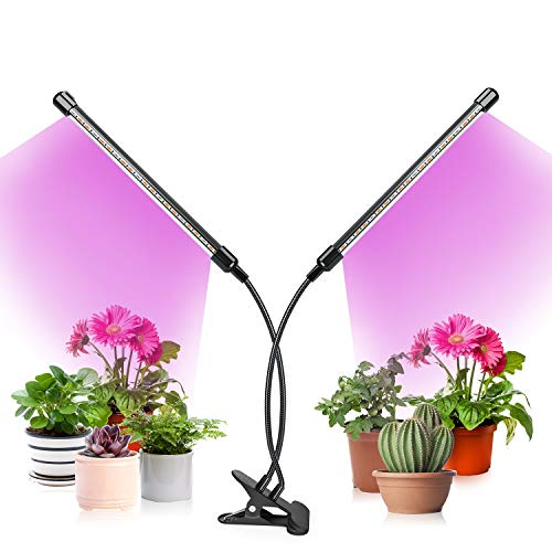 Fansteck Grow Light Plant Light, 80W Full Spectrum Plant Grow Light for Indoor Plants with Sunlight White & Red & Blue, Remote Controller, 80 LED Lamp, Auto Cycle ON/Off Timer (2 Head)