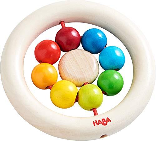 HABA 305581 - Greifling Regenbogenkugeln, Holzspielzeug für Kinder ab 6 Monaten, schult die Feinmotorik, erstes Greifen und die Wahrnehmung, Greifring für Babys aus Holz mit Kugeln