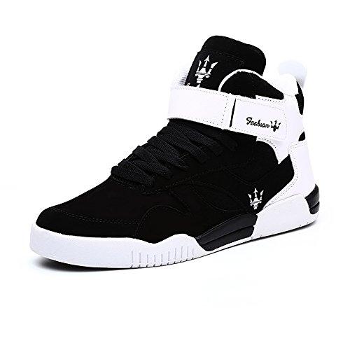 FZUU 2017 Neue Art und Weiseherbst Winter neue Mann Teens hohe Hilfe Hip Hop Mann Straßen Tanz beiläufige Schuh Gezeiten Schuhe Sneaker (45 EU, Schwarz)