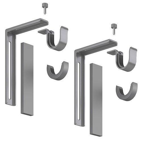 Set of 2 Ikea Betydlig Wall or Ceiling Curtain Rod Brackets Steel Silver Adjustable by IKEA