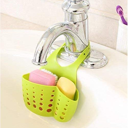 EKRON Kitchen Bathroom Sponge Soap Water Draining Hanging Plastic Holder Organizer (Standard Size, Random Colour)