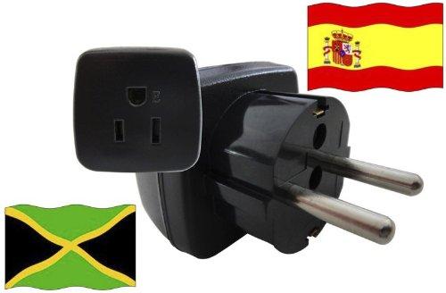 Urlaubs Reiseadapter Jamaika für Geräte aus Spanien Kindersicherung und Schutkontakt 250 Volt