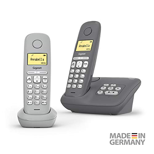 Gigaset A280A Duo 2 DECT-Schnurlostelefone mit Anrufbeantworter für beste Kommunikation mit großem Grafik-Display, perfekter Audioqualität und Freisprechfunktion - Made in Germany, Grey + Grey Medio