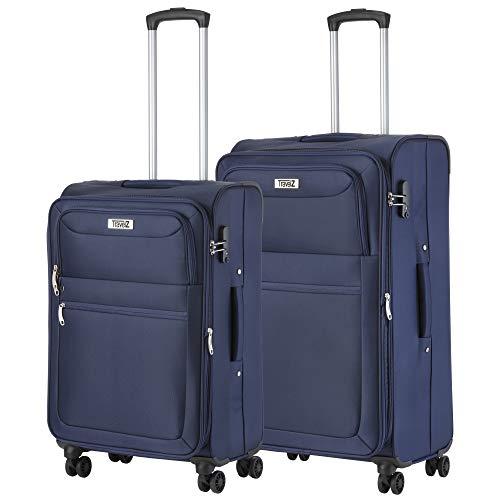 TravelZ Softspinner TSA Kofferset - 3-delige zachte Trolleyset - Blauw (blauw, XL)