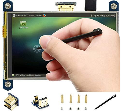 HDMI-LCD-IPS-Display, 10,2 cm (4 Zoll), 800 x 480 Auflösung, widerstandsfähig, Touchscreen, HDMI-Schnittstelle für Raspberry Pi 4B/3B+/3B/2B/B+/A+/Zero W, unterstützt Raspbian/Ubuntu/Kali/Retropie