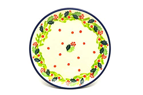 Polish Pottery Plate - Bread & Butter (6 1/4') - Christmas Holly