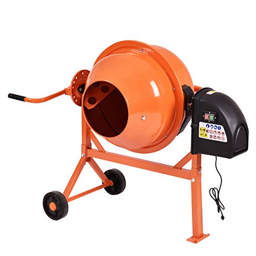 Electric Portable 2 1/5 Cubic FT Concrete Cement Mixer w/Wheel with Ebook