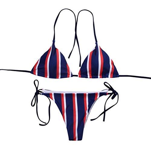 TWIFER Damen Gestreifter Bikini Badeanzug Push up Bademode Strandanzug