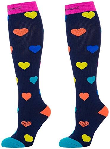 CompressionZ 20-30 mmHg Compression Socks Men & Women - Knee High Support Stockings (Hearts, Medium)